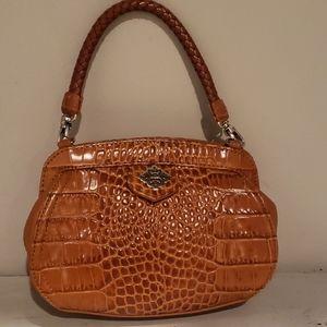 Brighton small tan croc embossed crossbody purse